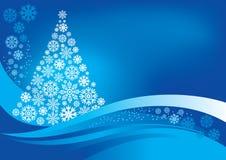 Weihnachtsbaum mit Schneeflocken Stockfotos