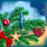 Weihnachtsbaum mit Spielwaren lizenzfreie abbildung