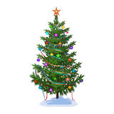 Weihnachtsbaum mit Spielwaren und Girlanden Stockbild