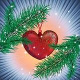 Weihnachtsbaum mit Spielzeug das rote Innere Stockfotografie
