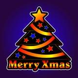 Weihnachtsbaum mit Sternen auf einem violetten Hintergrund Lizenzfreie Stockfotos