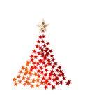 Weihnachtsbaum mit Sternen auf weißem Hintergrund für Grußkarte Lizenzfreie Stockbilder