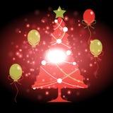 Weihnachtsbaum mit Weihnachtshintergrund und Grußkartenvektor stock abbildung