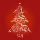 Weihnachtsbaum mit Wörtern Stockfoto