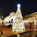 Weihnachtsbaum mitten in der Stadtmitte Lizenzfreies Stockfoto