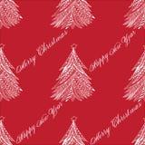 Weihnachtsbaum-Mustergekritzel stilisierte, die Hand, die gezeichnet wurde, weiß auf Rot Stockbilder