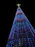 Weihnachtsbaum nachts in der Stadt Stockfotos