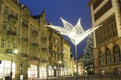 Weihnachtsbaum nahe neuem Rathaus in Wiesbaden stockfotografie