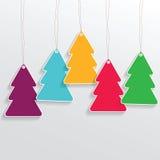 Weihnachtsbaum-Preisaufkleber auf dem grauen Hintergrund Lizenzfreie Stockbilder
