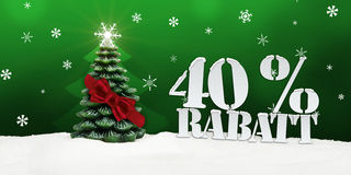 Weihnachtsbaum 40 Prozent Rabatt-Rabatt Lizenzfreies Stockfoto