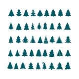 Weihnachtsbaum-Schattenbilddesign-Vektorsatz Konzeptbaumikone c Stockbild