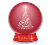 Weihnachtsbaum-Schnee-Kugel Lizenzfreie Stockfotos
