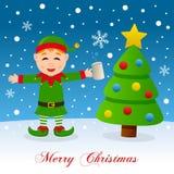 Weihnachtsbaum, Schnee u. getrunkene grüne Elfe Stockfotografie