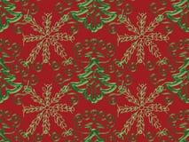 Weihnachtsbaum-Schneeflocke-Muster Stockbild