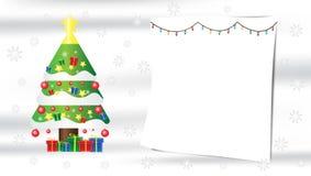 Weihnachtsbaum-Schneeflockengeschenkzusammensetzung auf weißem silk Hintergrund mit Kopienraum für Ihren Text vektor abbildung