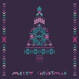 Weihnachtsbaum - Stammes- Weinlese-Azteke-Thema Stockfoto