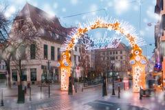 Weihnachtsbaum in Straßburg, Elsass, Frankreich Lizenzfreie Stockbilder