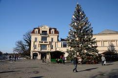 Weihnachtsbaum an Teatralna-Quadrat, Uzhhorod, Ukraine Stockfotografie