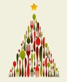 Weihnachtsbaum-Tischbesteck Stockbild