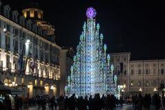 Weihnachtsbaum in Turin, Italien Stockfotos