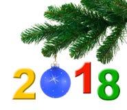 Weihnachtsbaum und 2018 Lizenzfreies Stockbild