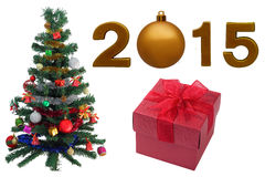 Weihnachtsbaum und 2015 auf lokalisiert Stockfoto