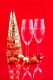 Weihnachtsbaum und Champagner Stockbilder