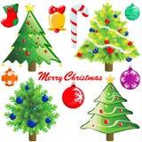 Weihnachtsbaum und Dekoration Stockfotos