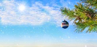 Weihnachtsbaum und Dekorationen auf dem Hintergrund des blauen Himmels Malerische Winterzusammensetzung Stockfoto