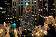Weihnachtsbaum und Engel Stockfotografie
