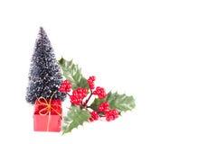 Weihnachtsbaum und Geschenkbox Stockbilder