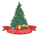 Weihnachtsbaum und Geschenke und Fahne in der Karikaturart auf einem weißen Hintergrund vektor abbildung