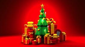 Weihnachtsbaum und Geschenkkästen vektor abbildung