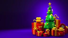 Weihnachtsbaum und Geschenkkästen stock abbildung