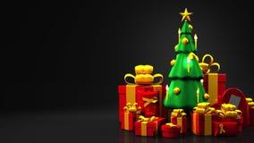 Weihnachtsbaum und Geschenkkästen lizenzfreie abbildung