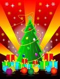 Weihnachtsbaum und Geschenkkästen Stockfotos