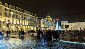 Weihnachtsbaum und Hauptplatz in Turin, Italien Stockfoto