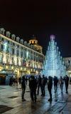Weihnachtsbaum und Hauptplatz in Turin, Italien Stockbilder