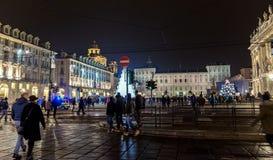 Weihnachtsbaum und Hauptplatz in Turin, Italien Stockbild