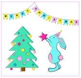 Weihnachtsbaum und Kaninchen Vektorabbildung EPS8 Stockfoto