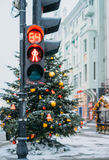 Weihnachtsbaum und Markt, Moskau Stockfotografie