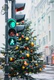 Weihnachtsbaum und Markt, Moskau Stockfotos