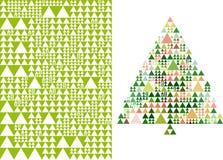 Weihnachtsbaum und Muster, Vektor Lizenzfreie Stockfotografie