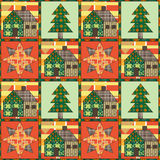 Weihnachtsbaum und Musterhintergrundpatchwork des Hauses nahtloses Lizenzfreies Stockbild
