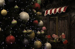Weihnachtsbaum und Süßigkeits-Kiosk Stockbild