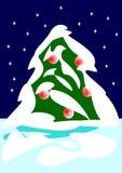 Weihnachtsbaum und Schnee Lizenzfreies Stockfoto