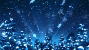 Weihnachtsbaum-und Schnee-Animation vektor abbildung