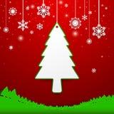 Weihnachtsbaum und Schneeflockehintergrund Lizenzfreies Stockbild