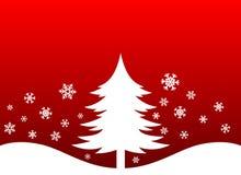 Weihnachtsbaum- und Schneeflocken Stockfotografie