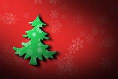 Weihnachtsbaum und Schneeflockendesignhintergrund Stockbilder